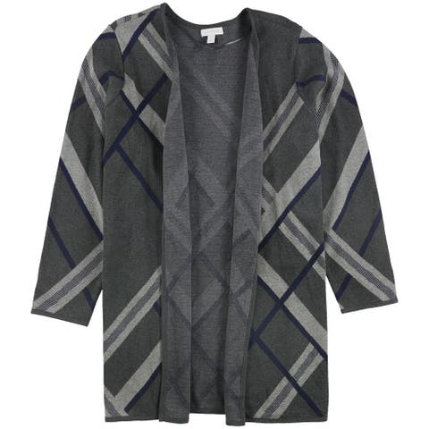 Charter Club Womens Offset Plaid Cardigan Sweater