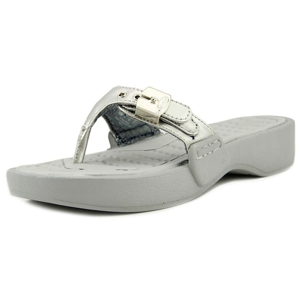bfa7b0dd780e Shop Dr. Scholl s Roll Women Open Toe Synthetic Silver Thong Sandal ...