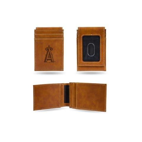 """4"""" Brown MLB Los Angeles Angels Laser Engraved Front Pocket Wallet"""