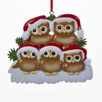 Pack of 6 Brown and Red Christmas Themed Owl Family Ornaments 3.75""