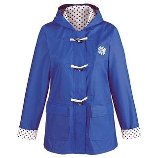 "Women's Daisy Embroidered Hooded Rain Jacket - 30"" Long Coat"