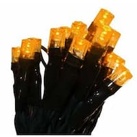 Battery Operated Orange LED Wide Angle Christmas Lights, Green