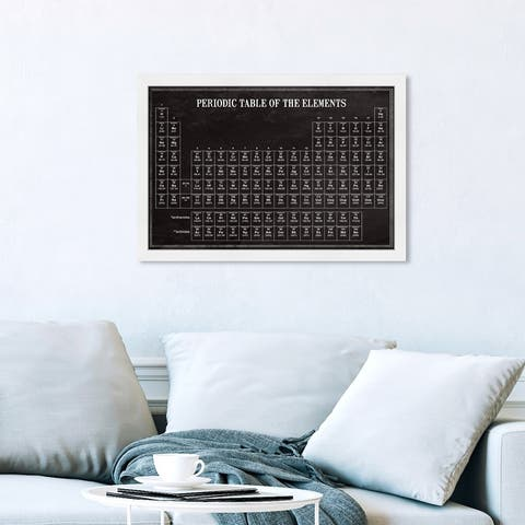 Oliver Gal 'Periodic Modern Table' Education and Office Framed Wall Art Prints Educational Charts - Black, White
