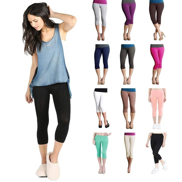 Womens Seamless Nylon Fitted Capri Crop 3/4 Leggings. Opens flyout.