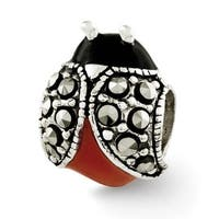 Sterling Silver Reflections Enameled & Marcasite Ladybug Bead (4mm Diameter Hole)