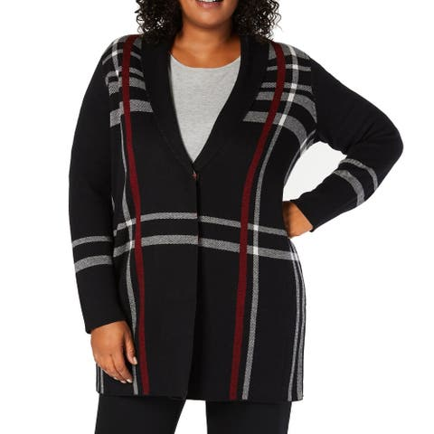 Charter Club Women Sweater Black Size 3X Plus Cardigan Snap Button Plaid