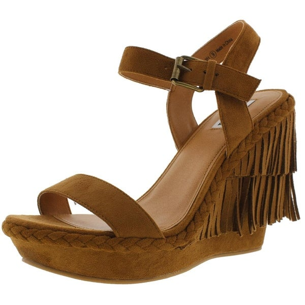 Not Rated Womens Roaring Ruby Wedge Sandals Faux Suede Fringe