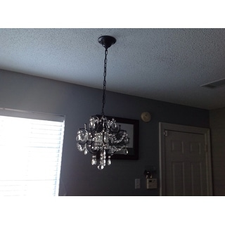 Wrought Iron and Crystal Black 4-light Chandelier Pendant