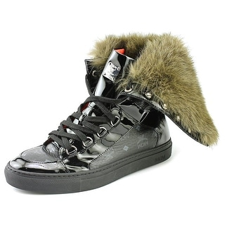 MCM Visetos Tall Fur Youth Round Toe Leather Sneakers