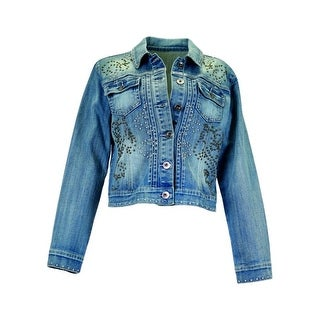 Cowgirl Tuff Western Jacket Womens Denim Studs Button Med Wash