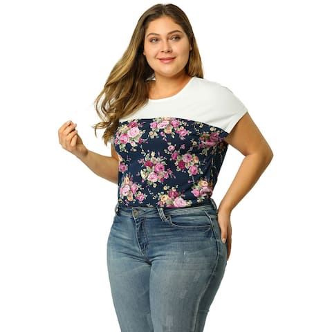 Women Plus Size Dolman Sleeve Print Shirt Sheer Floral Summer Top