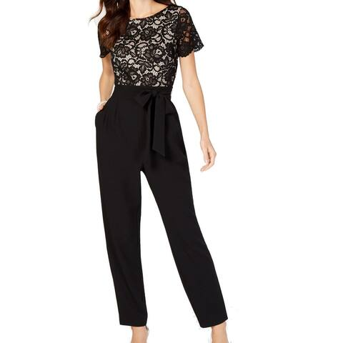 Jessica Howard Women's Jumpsuit Nude Black Size 10 Floral Lace Belted
