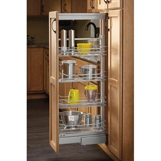 """Rev-A-Shelf 5758-09 5700 Series 9"""" Wide by 65.75"""" Tall Four Tier Pull Out Base Cabinet Organizer