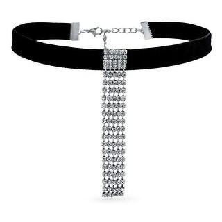 Choker Black Velvet Crystal Dangle Waterfall Fringe Prom Necklace