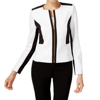 Calvin Klein NEW White Black Womens Size 4 Colorblock Textured Jacket