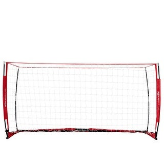 Costway 8' x 4' Soccer Goal Durable Bow Style Net Quick Setup Soccer Training w/ Bag - Red