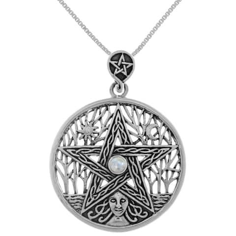 Sterling Silver Celtic Goddess Mother Earth Pentacle Pendant Necklace