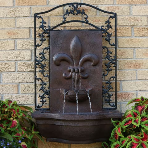 Sunnydaze French Lily Electric Outdoor Wall Water Fountain - Iron Finish - Bronze