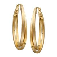 Just Gold Satin & Polished Double Oval Hoop Earrings in 14K Gold - YELLOW