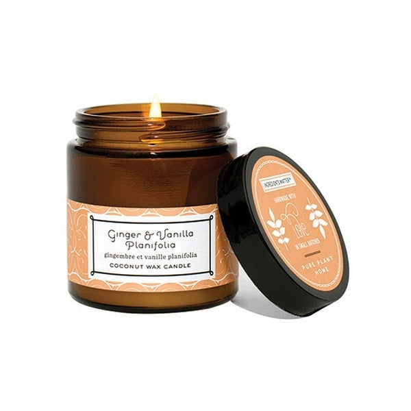 Pure Plant Home Coconut Wax Candles Ginger & Vanilla 3 1 oz  Small Amber  Apothecary Jars