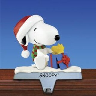 """4.5"""" Peanuts® Snoopy and Woodstock Present Christmas Stocking Holder"""