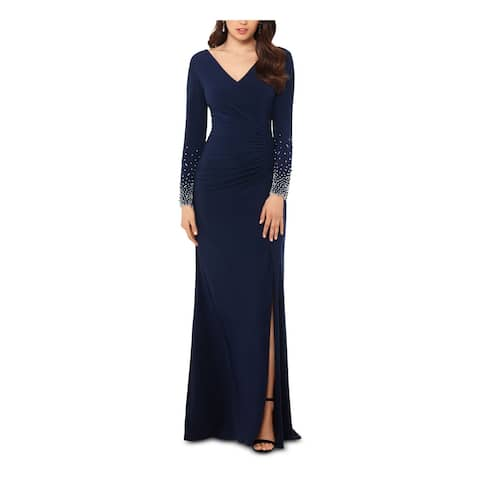 XSCAPE Navy Long Sleeve Full-Length Sheath Dress Size 4P