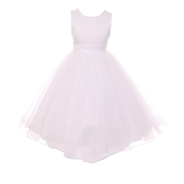 467d37fad Shop RainKids Girls White Pearl Hi-Low Satin Tulle Flower Girl Dress - Free  Shipping Today - Overstock.com - 18181241