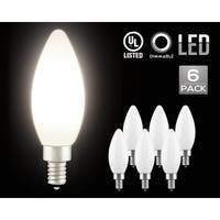 4.5W Dimmable LED C11 Milky Frosted Filament Candle Bulb, Cool White E12 Base