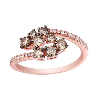 Beautiful 0.81Ct Natural Brown /SI1 Diamond & G-H/SI1 Diamond Stylist Ring - White G-H