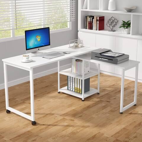 55 inch Reversible L-Shaped Desk, Rotating Corner Computer Desk with Shelves