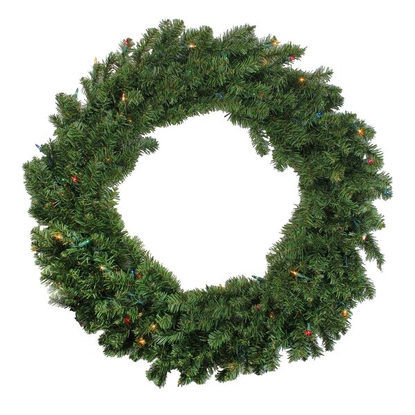 """36"""" Pre-Lit Two-Tone Canadian Pine Artificial Christmas Wreath - Multi Lights - green"""