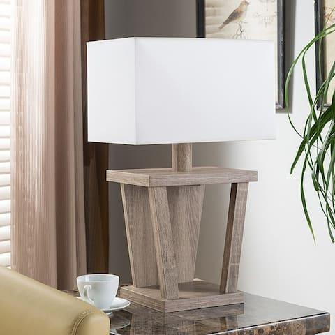 Q-Max Roman Numeral Design Table Lamp Equipped with one White Lamp Shade