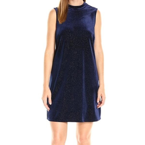 11923fa43 Shop BCBG Generation NEW Blue Womens Size XS Velvet Metallic Shift ...