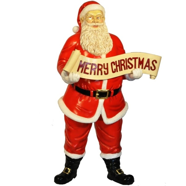 Christmas at Winterland WL-SANTA-58-SIGN 58 Inch Life Size Santa with Merry Christmas Sign