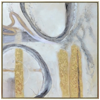 "Harp and Finial HFW32918  Jensen 54"" x 54"" Framed Abstract Painting on Canvas - Gray / Gold"
