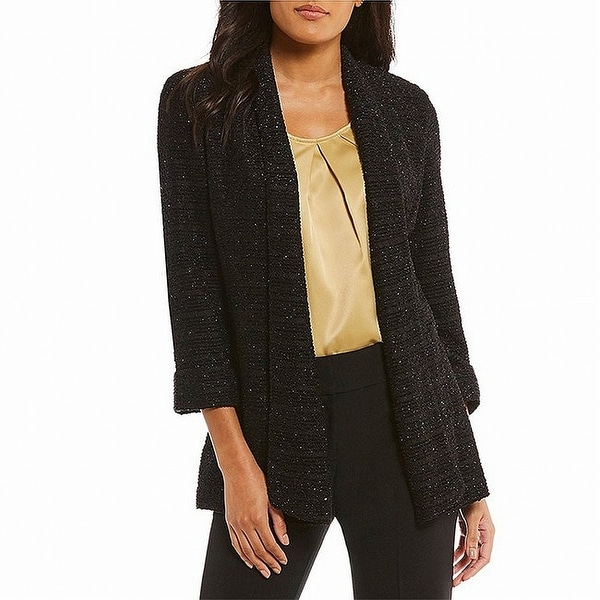 Kasper Black Womens Size 14 Shimmer Sequin Textured Tweed Jacket