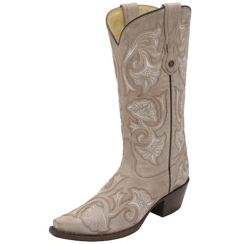 Corral Western Boots Womens Snip Toe Floral Embroidery Pull On