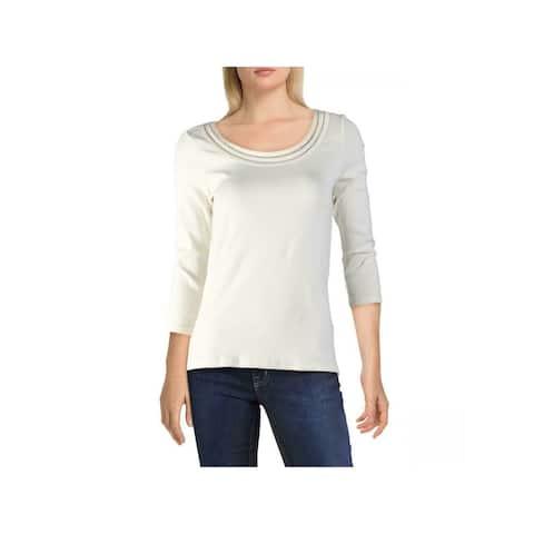 RALPH LAUREN Womens Ivory 3/4 Sleeve Scoop Neck Top Size L