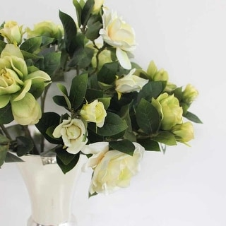 "FloralGoods Silk 3 Gardenia Bloom Stem in Green and White 25"" Tall"