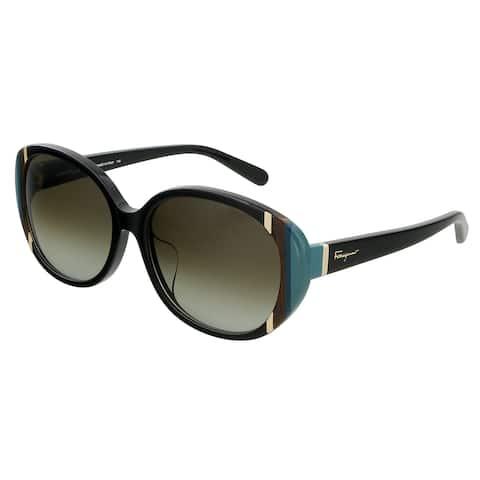 Salvatore Ferragamo SF842SA 1 Black Oval Sunglasses - 58-16-140