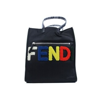 Fendi Black Logo Patches Nylon and Shearling Tote Bag