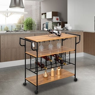 Link to Industrial Wine Rack Cart Kitchen Rolling Storage Bar Wood Table Serving Trolley Similar Items in Home Bars