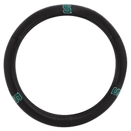 Pilot Automotive Black Leather Michigan State Spartans Car Auto Steering Wheel Cover