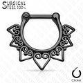 Tribal Fan 316L Surgical Steel Septum Clicker (Sold Ind.) - Thumbnail 2