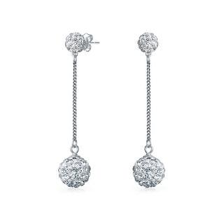 Bling Jewelry White Crystal Disco Ball Shamballa Inspired Dangle Earrings Sterling Silver