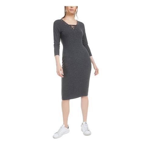BAR III Womens Gray 3/4 Sleeve Below The Knee Body Con Dress Size XS