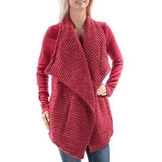 LUCKY BRAND $99 New 1345 Red Open Cardigan Long Sleeve Trapeze Sweater M B+B