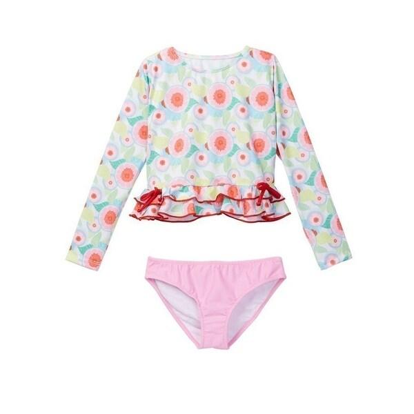 ab537ce7329ed Shop Azul Little Girls Pink Sweet Jane Long Sleeve Rash Guard Bikini ...