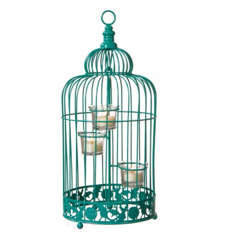 "17"" Fancy Fair Contemporary Style Turquoise Green Birdcage Tea Light Candle Holder"