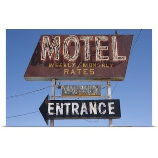 Poster Print entitled Old fashion motel sign against blue sky in Winslow, Arizona
